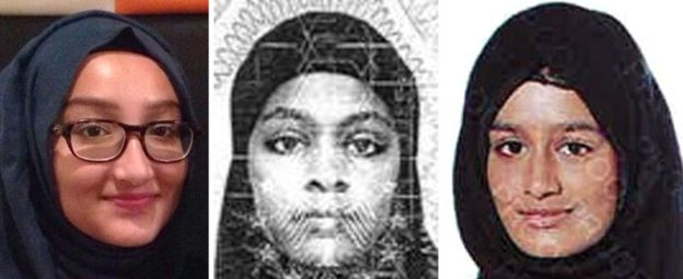 Shamima Begum (far right) wants to return to the UK. Source: Met Police