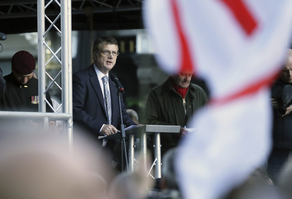 "Ukip leader Gerard Batten delivers a speech at the ""Brexit Betrayal Rally"" on Whitehall in London, Sunday Dec, 9, 2018. (AP Photo/Tim Ireland)"