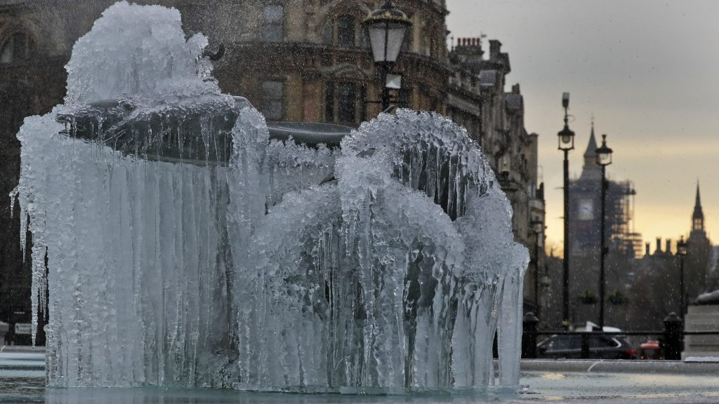 icicles on fountain in London